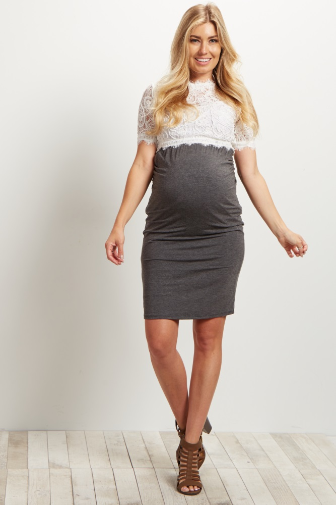 look out for great discount for durable in use Ivory Fringed Lace Maternity Crop Top