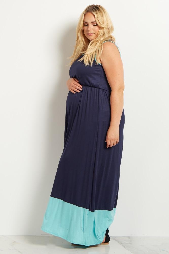 Navy Blue Mint Colorblock Plus Size Maternity Maxi Dress