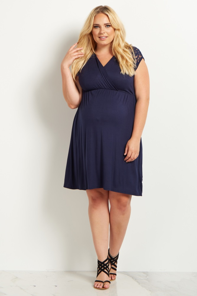 cc1c36214907 Navy Lace Shoulder Plus Maternity/Nursing Dress