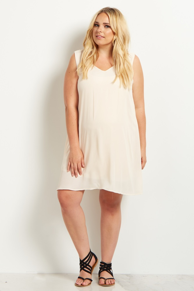 Cream Basic Chiffon Plus Size Maternity Dress