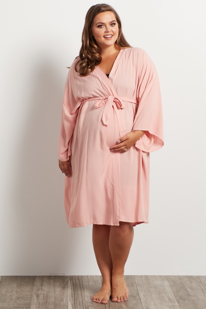 28ead073a23dc Light Pink Plus Delivery/Nursing Maternity Robe