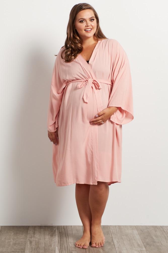 045af7f2bd7 Light Pink Plus Delivery Nursing Maternity Robe
