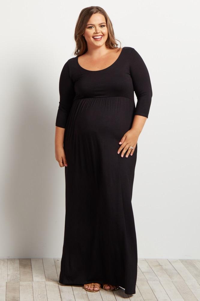 f1825fb98d Black 3 4 Sleeve Plus Maternity Maxi Dress