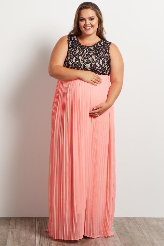 e4df09bcc169 Coral Pleated Chiffon Lace Top Plus Maternity Maxi Dress
