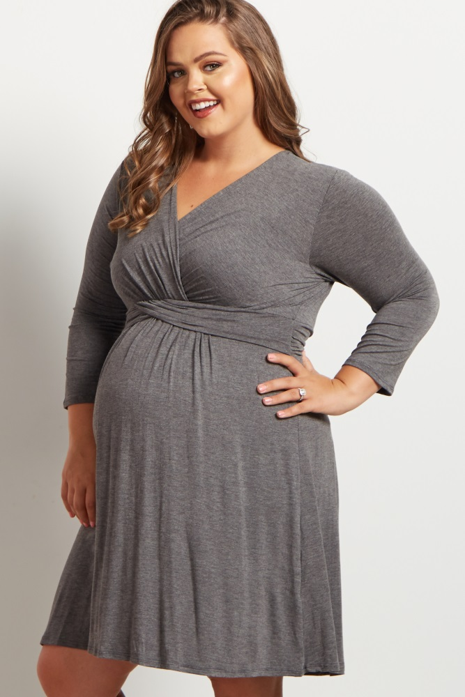 Charcoal Wrap 3/4 Sleeve Plus Size Maternity/Nursing Dress