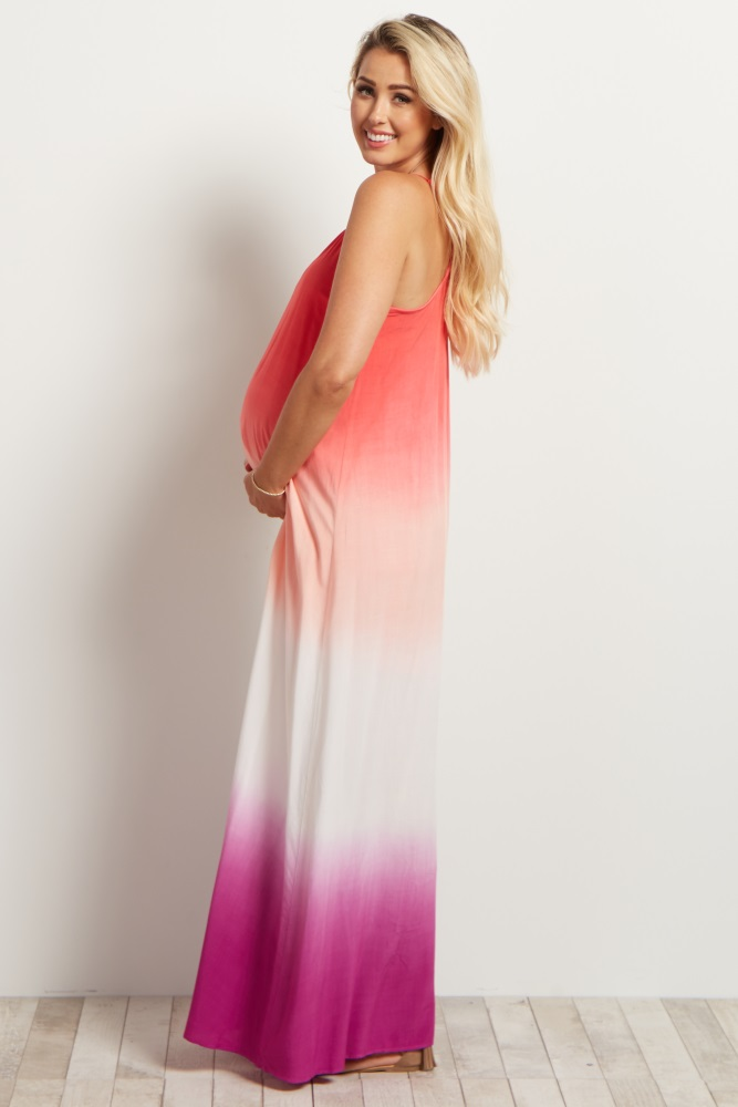17a0542b336c7 Pink Coral Ombre Maternity Maxi Dress