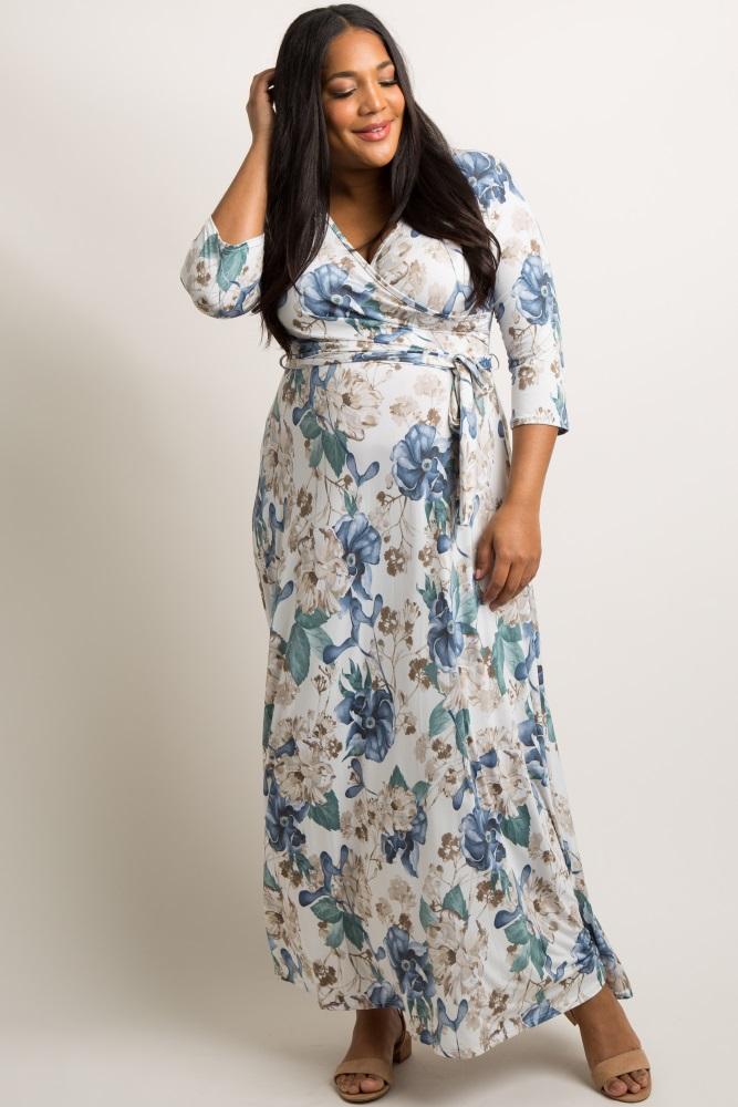 08264ff542e Ivory Floral Sash Tie Maternity Plus Maxi