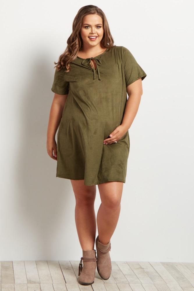 Olive Faux Suede Tie Front Plus Size Maternity Dress