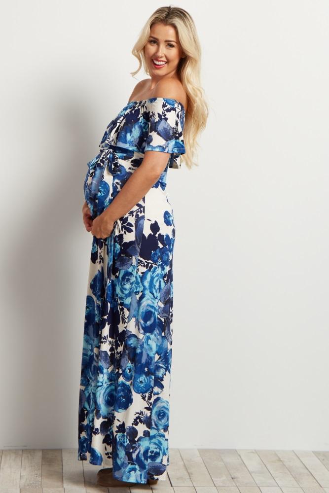 199dcc1903a8c Navy Blue Floral Off Shoulder Maternity Maxi Dress