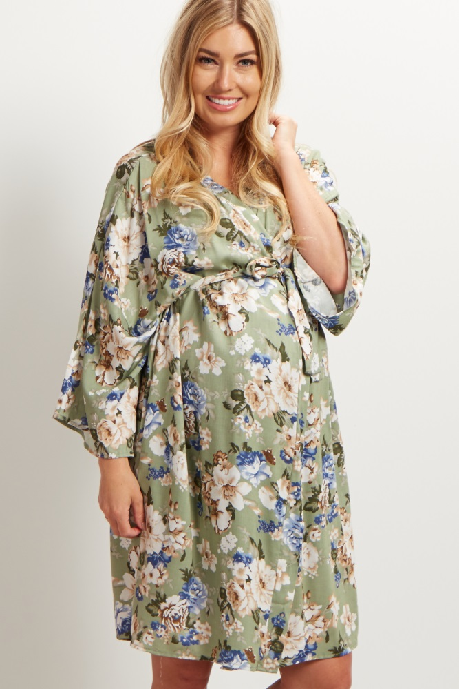 a611296ac3ab9 Sage Floral Delivery/Nursing Maternity Robe