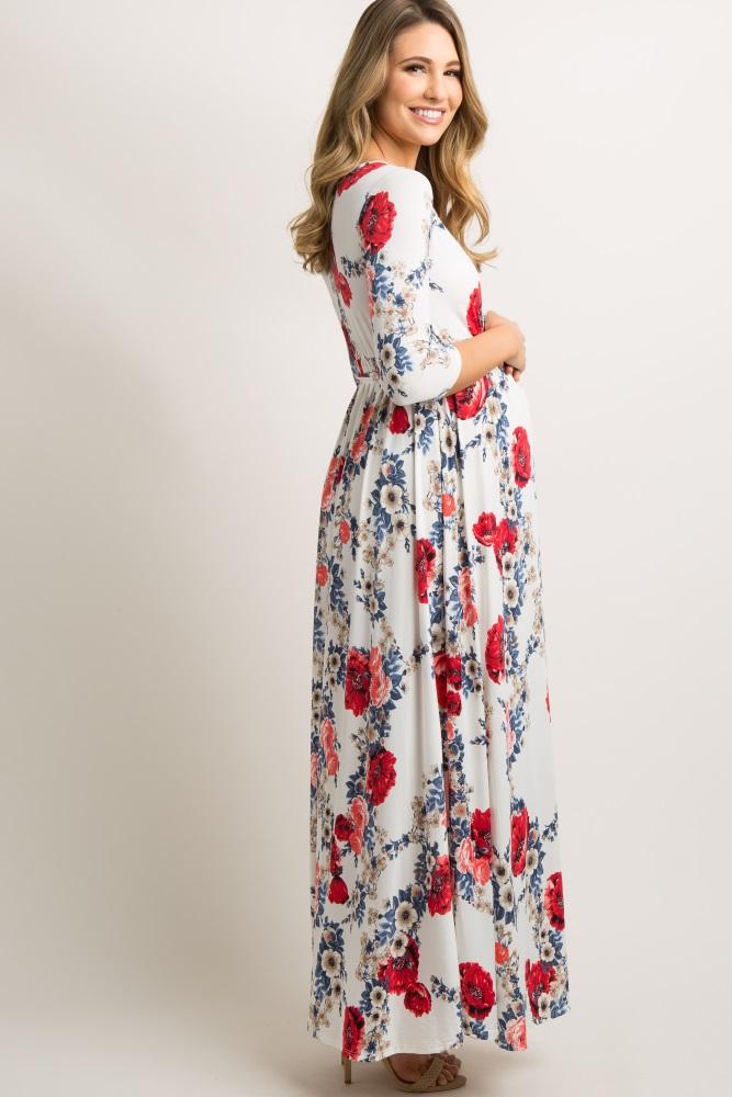 b55ab9e7656a0 Tall White Garden 3/4 Sleeve Wrap Maternity/Nursing Maxi Dress