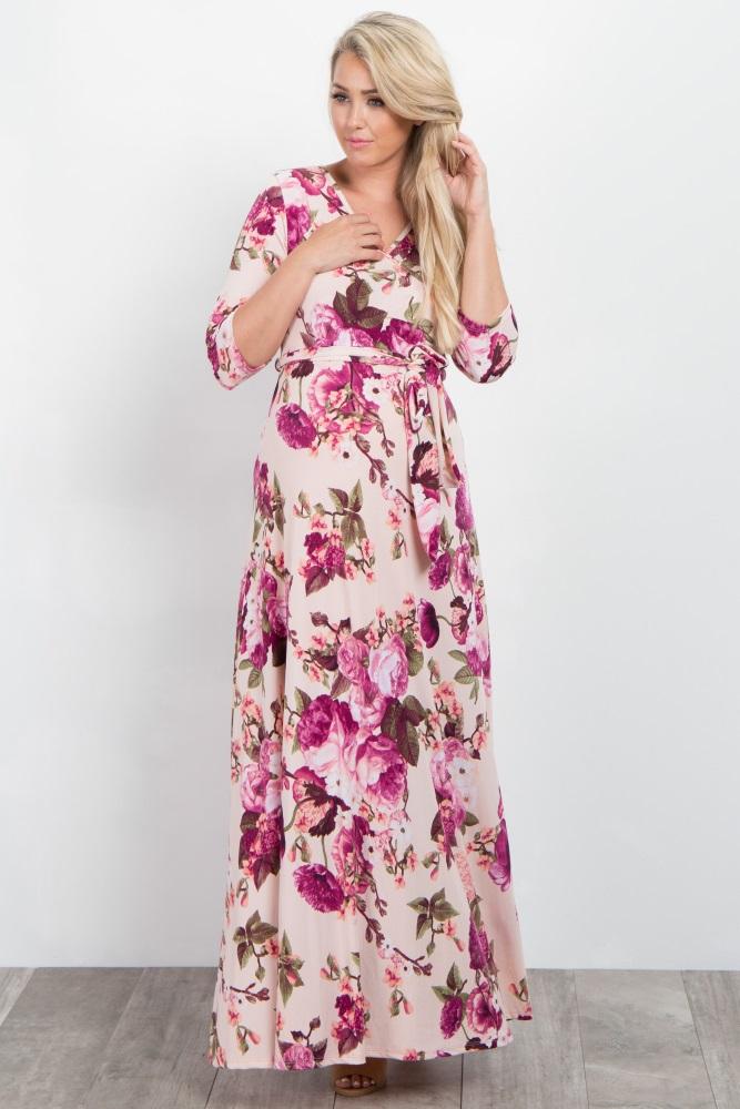 bde58e4597285 Light Pink Floral Draped 3/4 Sleeve Maternity Maxi Dress