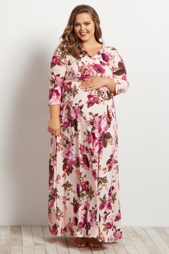 ff77e6ba2de Light Pink Floral Draped Plus Maternity/Nursing Maxi Dress