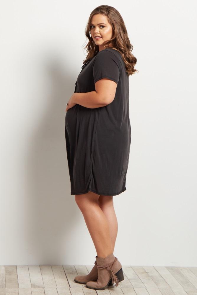 80f596d462e Black Lace Up Front Short Sleeve Maternity Plus Size Dress