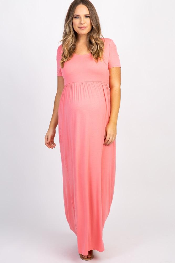 Coral Basic Short Sleeve Plus Size Maternity Maxi Dress