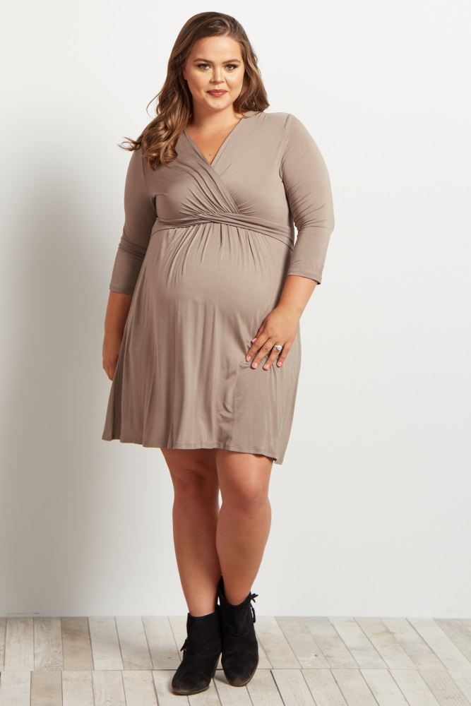 Mocha Wrap 3/4 Sleeve Plus Size Maternity/Nursing Dress