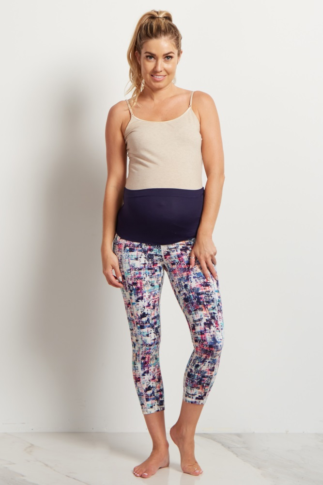 bb762834ed97a White Multi Color Cropped Maternity Workout Pants