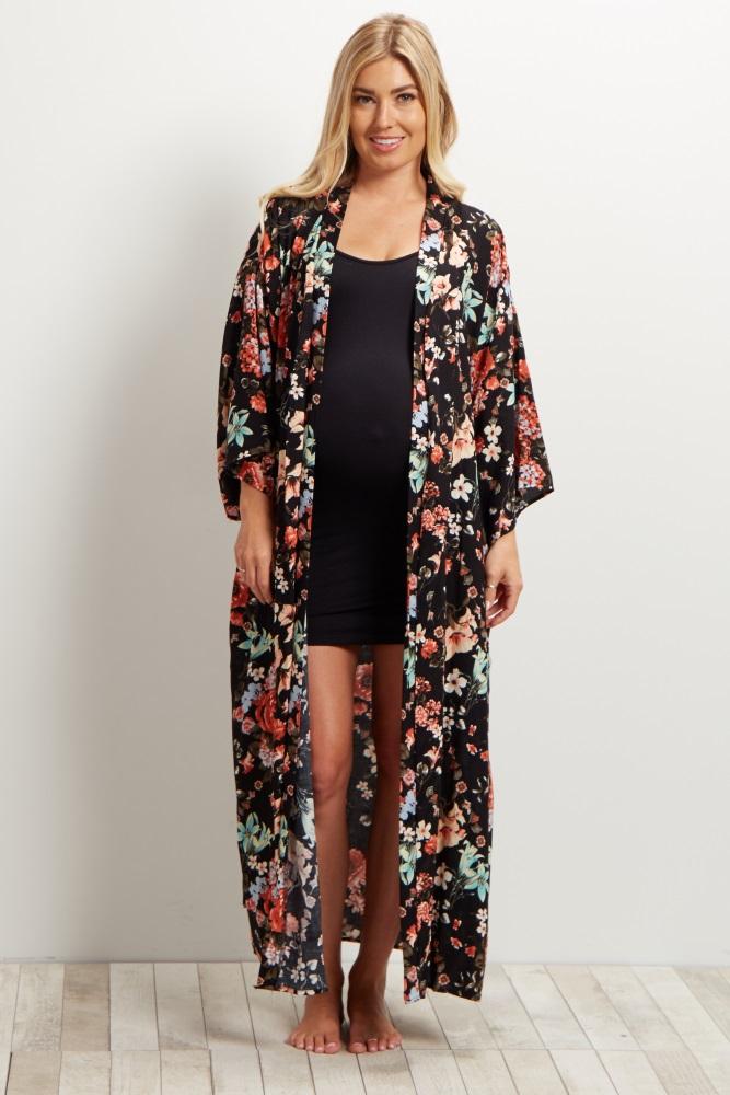 8b30d314173 Black Floral Delivery Nursing Long Maternity Robe