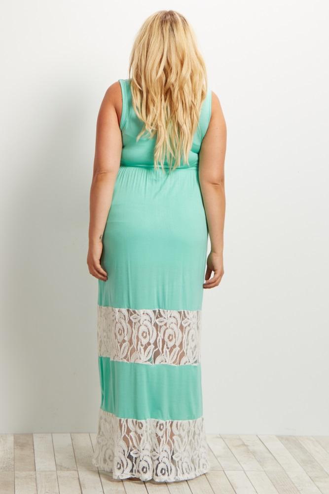c667a5ee1bc2e Mint Green Lace Colorblock Maternity Plus Size Maxi Dress