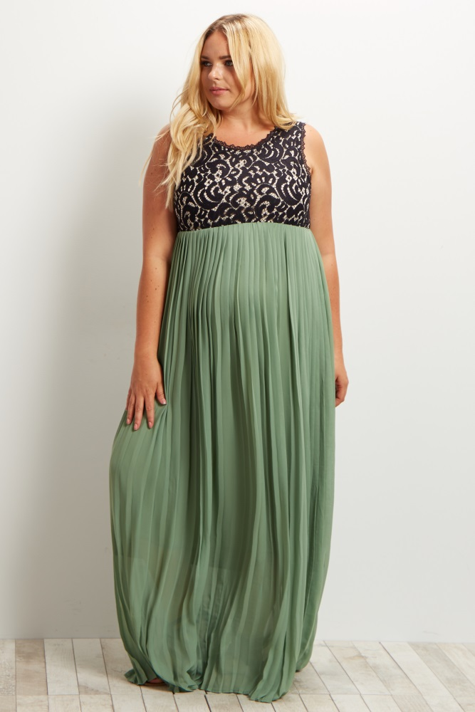 Green Pleated Chiffon Lace Top Plus Size Maternity Maxi Dress