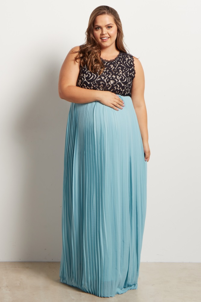 Light Blue Pleated Chiffon Lace Top Plus Size Maternity Maxi Dress
