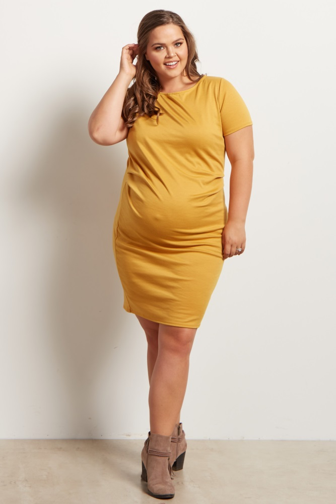db1e5978327 Yellow Fitted Plus Size Maternity Dress
