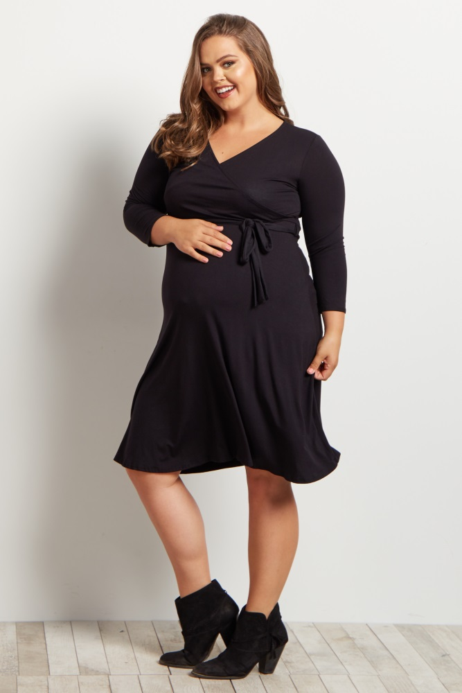 Black Sash Tie Plus Size Maternity/Nursing Wrap Dress