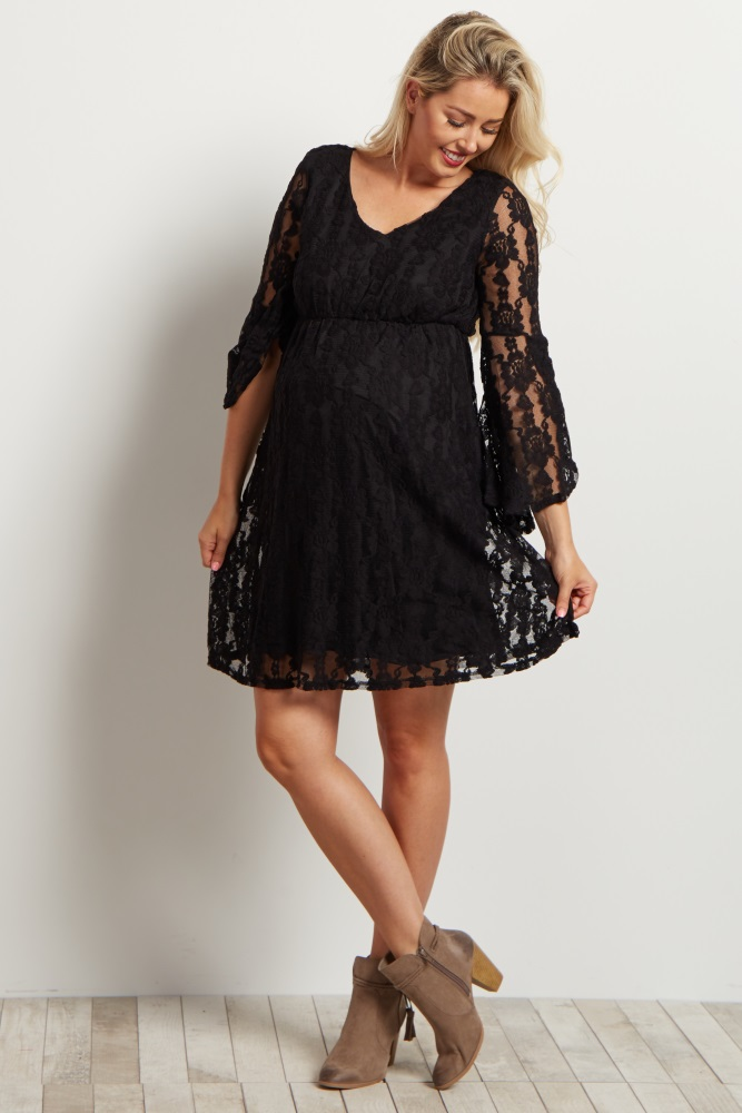93547f024db Black Lace Overlay Slit Bell Sleeve Maternity Dress