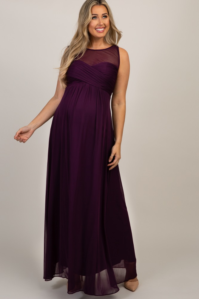 eb186661c6a56 Purple Mesh Neckline Ruched Bust Maternity Evening Gown
