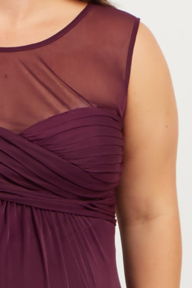 3f80aaeec060b Plum Mesh Neckline Ruched Bust Plus Maternity Evening Gown