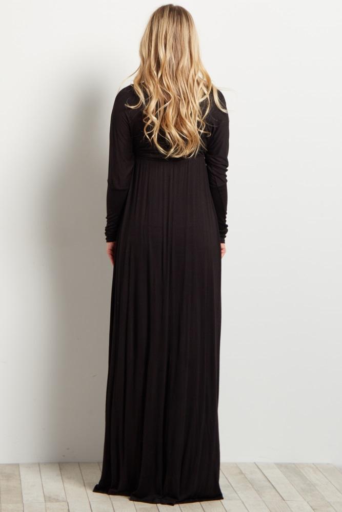 65f4dde9ade Black Basic Dolman Sleeve Maternity Nursing Maxi Dress