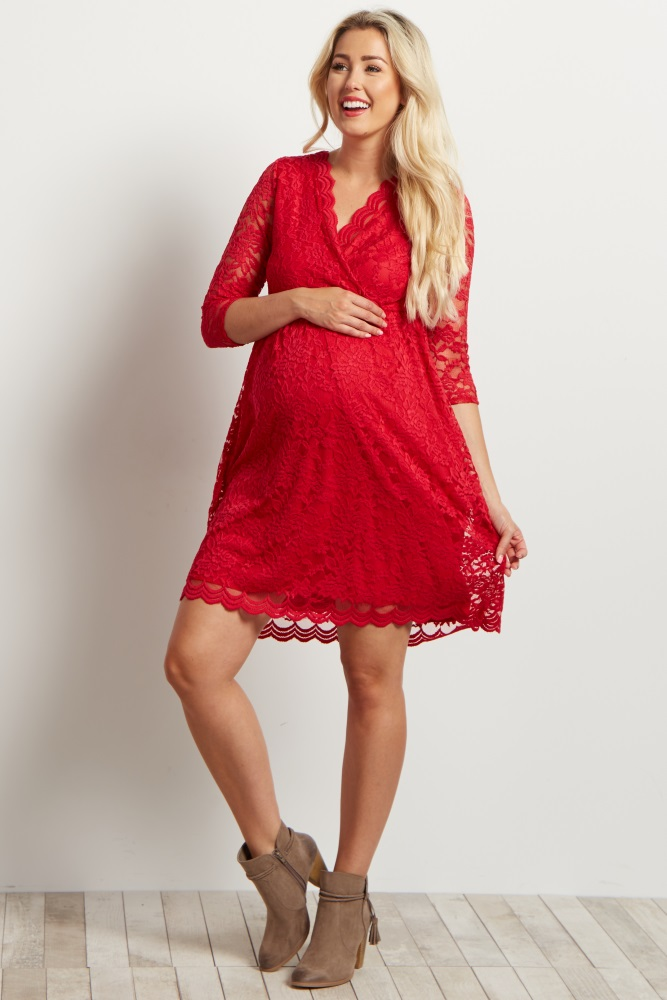 98e9929281dc2 Red Lace Overlay Wrap Maternity Dress