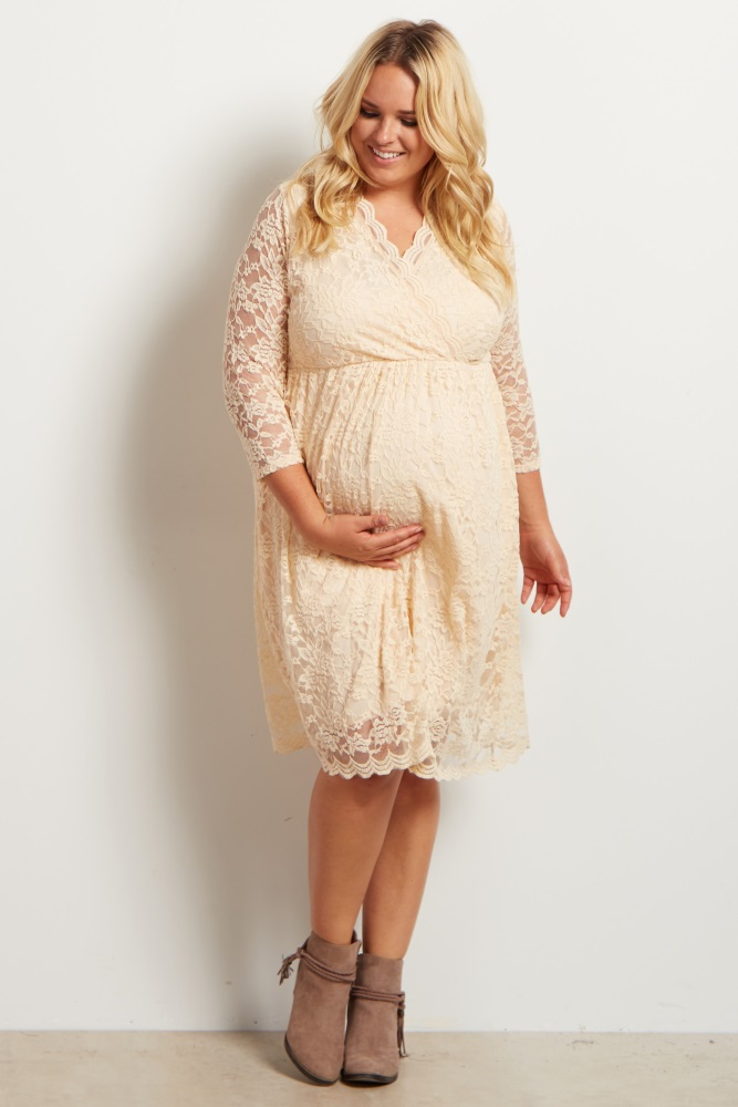 Beige Lace Overlay Wrap Plus Maternity/Nursing Dress