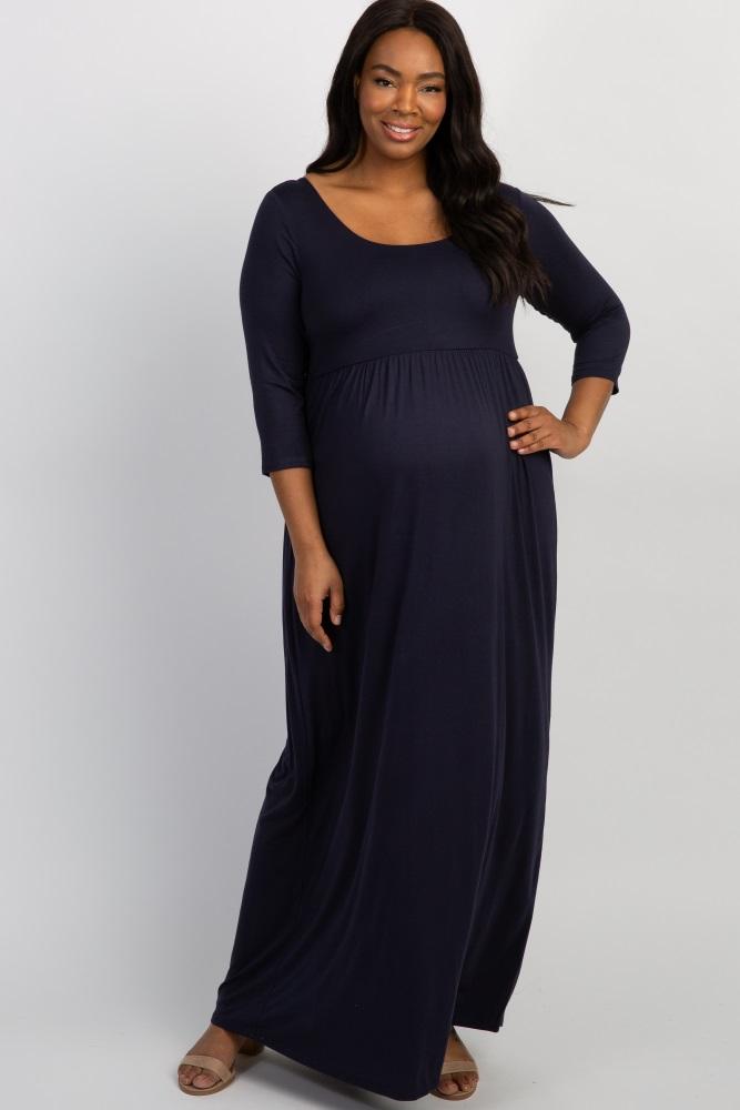 147a53876d4ef Navy 3/4 Sleeve Plus Maternity Maxi Dress