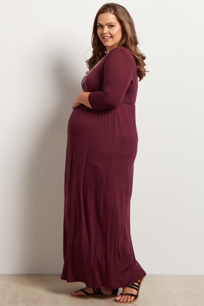 819357f97a37 Burgundy 3/4 Sleeve Plus Maternity Maxi Dress