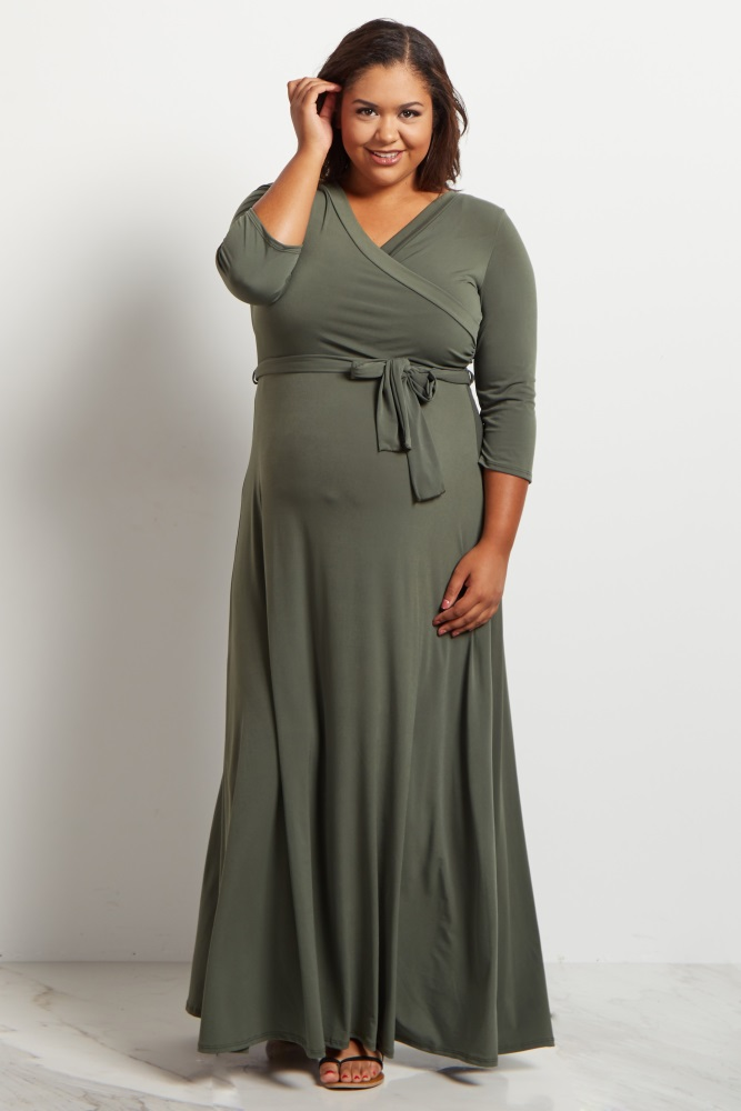 Olive Green Draped 3/4 Sleeve Plus Size Maternity Maxi Dress