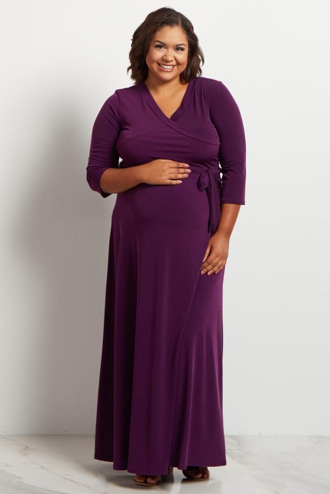 Purple Draped 3/4 Sleeve Plus Size Maternity Maxi Dress