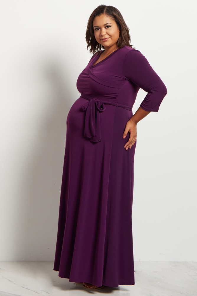 85005ef2dc53b Purple Draped 3/4 Sleeve Plus Size Maternity Maxi Dress