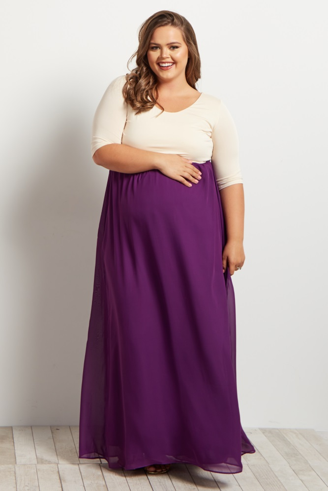 956a36f462b Purple Chiffon Colorblock Plus Maternity Maxi Dress