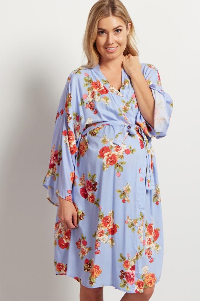 light blue floral delivery/nursing maternity robe