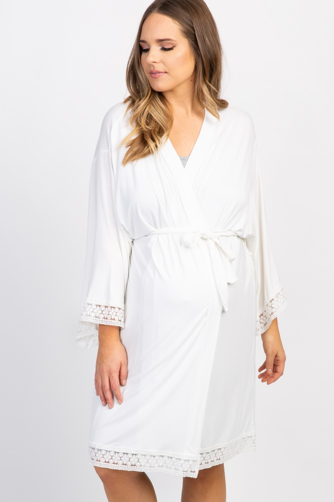 Ivory Lace Trim Plus Size Delivery/Nursing Maternity Robe