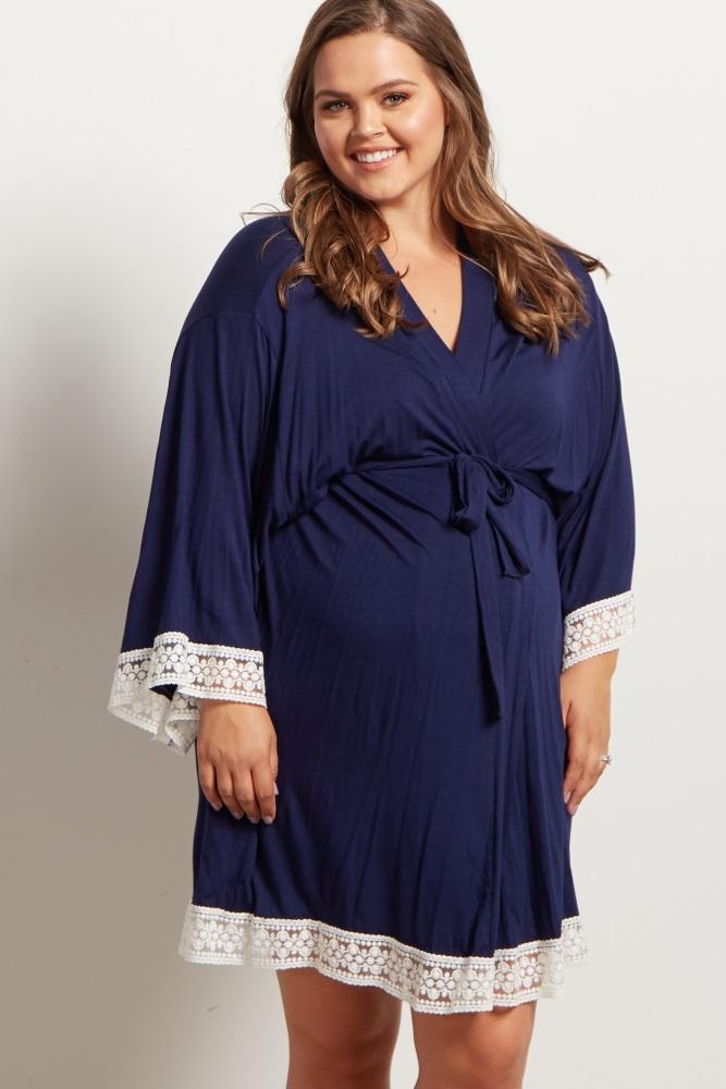 navy lace trim plus delivery/nursing maternity robe