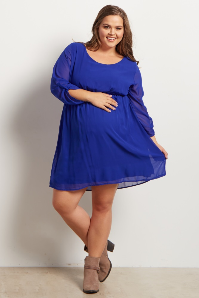 Royal Blue Chiffon Plus Size Maternity Dress