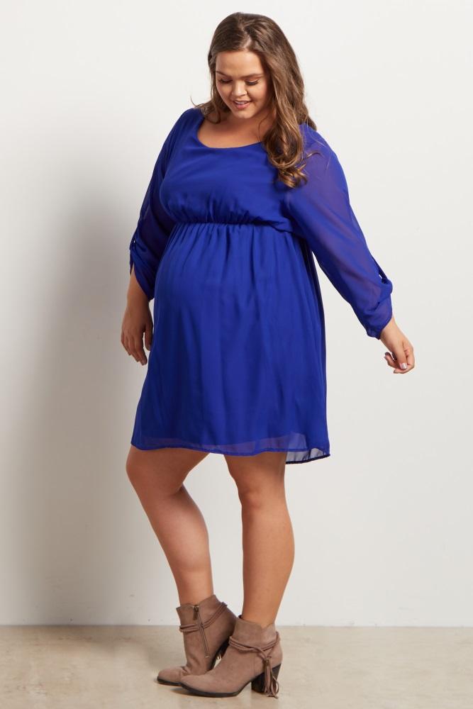 07d58ae8d6 Royal Blue Chiffon Plus Size Maternity Dress