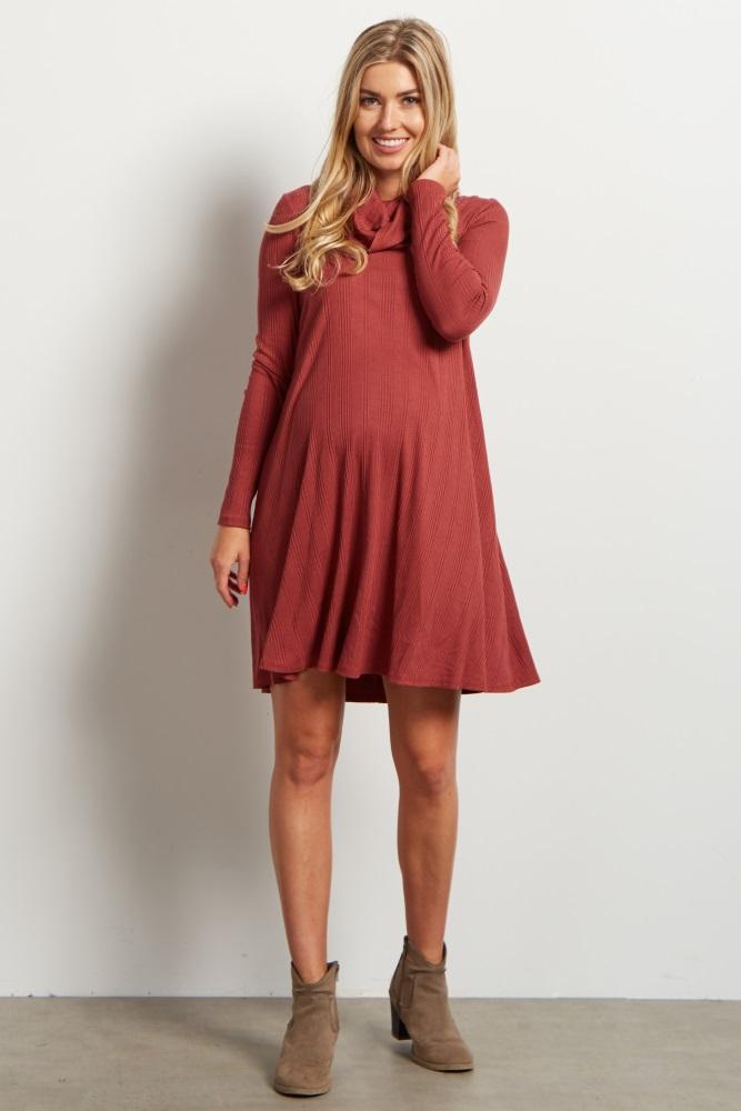 93294ca0f Rust Cowl Neck Long Sleeve Maternity Dress