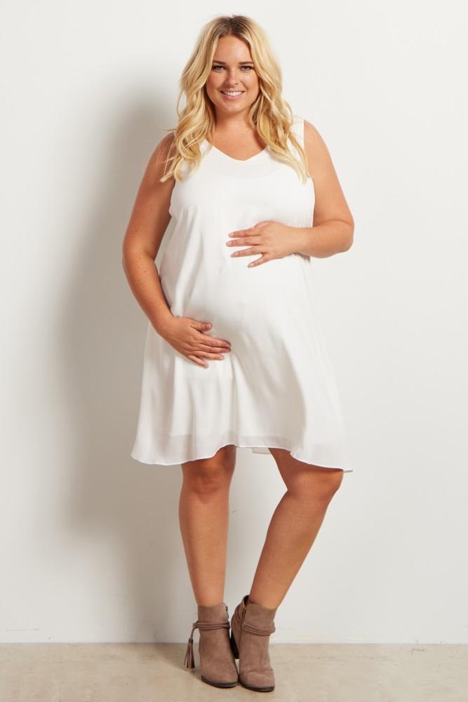 White Basic Chiffon Plus Size Maternity Dress
