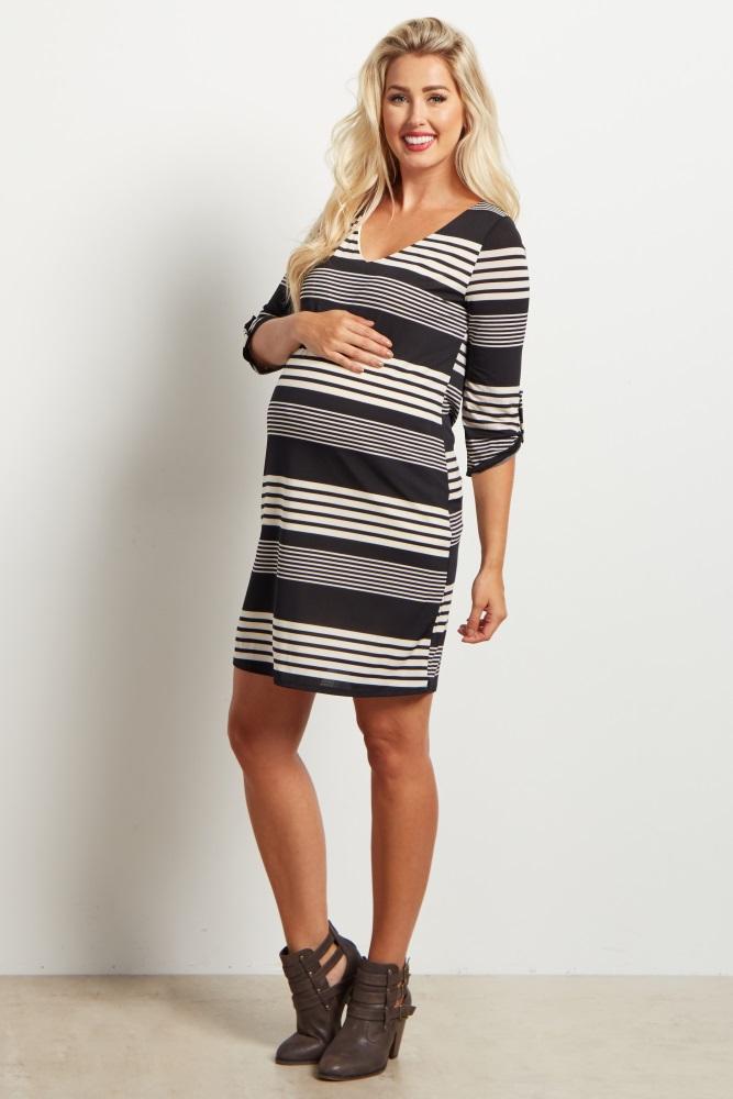 5a8762e981d Black Alternating Striped V Neck Maternity Dress