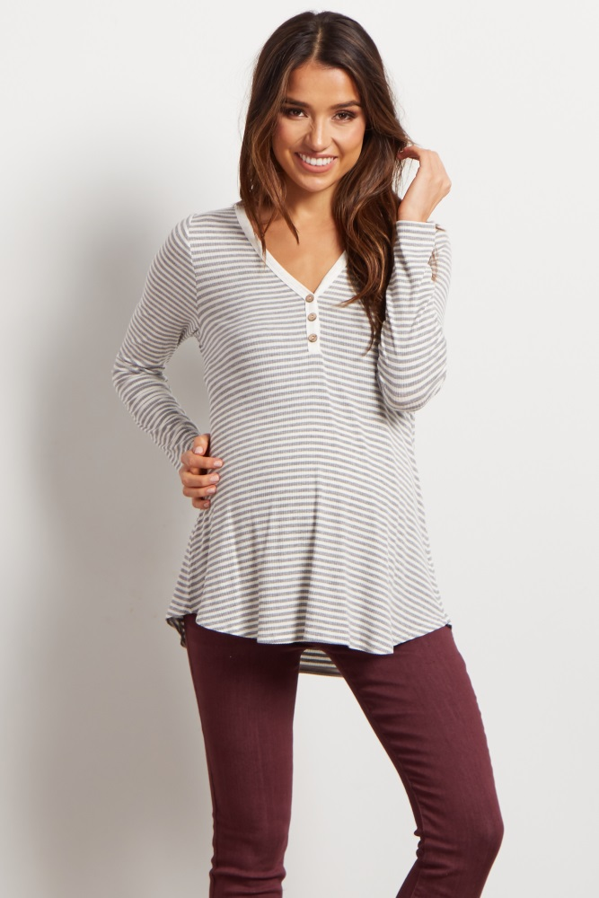 64bd88a402577 Grey Striped Henley Maternity Top