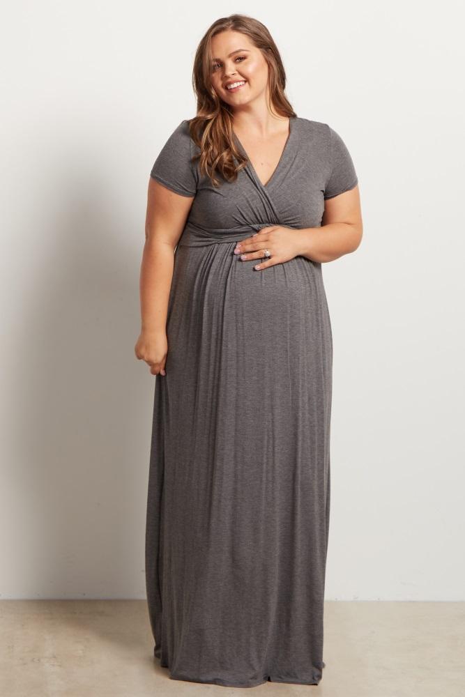 Navy Blue Draped Maternity/Nursing Plus Maxi Dress