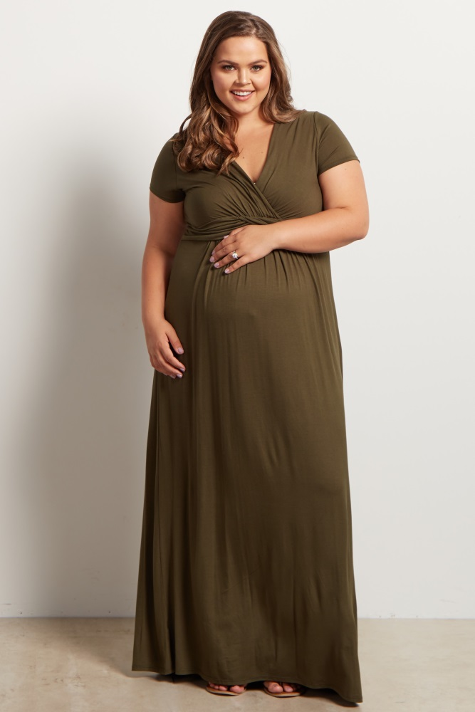 Olive Green Draped Maternity/Nursing Plus Size Maxi Dress